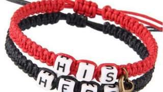 His & Hers Set Od Dvije Narukvice Bracelet Crna I Crvena