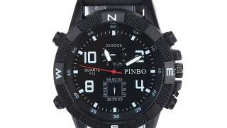 Pinbo Crni Military Kožni Analog Muški Sport Sat Watch